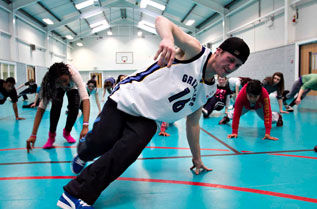 BBoy Paul 'Balen' Allen running a breakdancing workshop