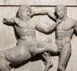 This stone carving from the Parthenon in Athens shows a centaur (left) fighting a lapith (a legendary human).  The battle between lapiths and centaurs was told in a Greek story.
