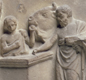 This family offers a bull to Asclepius, god of healing, and his daughter Hygieia. The animal is a sacrifice,  in hope of a cure for a sick person.
