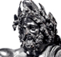 This is a small bronze copy of the huge statue of Zeus that stood in his temple at Olympia.