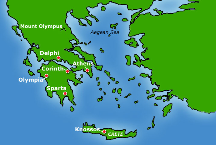 Bbc primary history ancient greeks the greek world the map shows the main city states of ancient greece gumiabroncs Choice Image