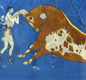A fresco (wall-painting) from Crete by Minoan artists. It shows people leaping over the back of a bull.