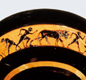 Most Greeks grew up to be farmers. This picture on a bowl shows a man with a wooden plough pulled by oxen.