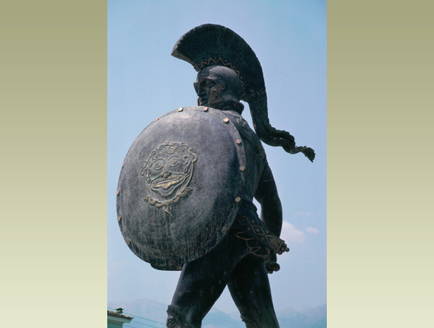 Modern statue of leonidas, king of sparta. it is at thermopylae, the