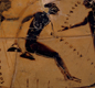 This Greek amphora (jar) shows long jumping. The jumper holds lead or stone weights, to help him jump further.  Pegs in the ground mark previous jumps.