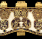 The purse lid from the Sutton Hoo ship treasure. It's made of gold set with glass and gemstones, and was made for a purse hung from a belt.