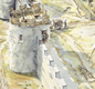This is how the Portchester Roman fort probably looked when the Anglo-Saxons had it (AD 900s). It's a modern artist's painting.