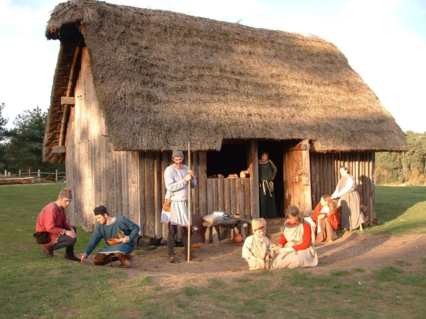 This is what an anglo saxon house was like the people are modern but