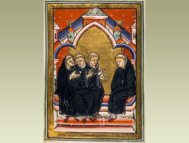 Monks asking St Cuthbert to become their bishop at Lindisfarne