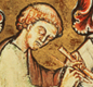 Could this monk be Bede? The picture, made 500 years after Bede lived, comes from a copy of Bede's book about the Christian church leader St Cuthbert.