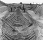 The Sutton Hoo ship. This 1930s photo shows what archaeologists saw when they dug into the Suffolk burial mound.