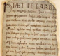 The first lines of Beowulf, the Old English story-poem. It begins: 'So. The Spear Danes in days gone by and the kings who ruled them had courage and greatness.'