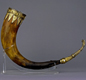 A drinking horn, made about AD 500-600. The horn belonged to a wild ox or aurochs. This animal died out in Britain before the Saxons arrived. So it is an old horn. 