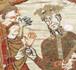 In this scene from the Bayeux Tapestry, King Edward the Confessor talks to Earl Harold. After Edward died, Harold was chosen to be England's next king.