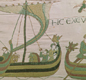The Normans cross the sea to invade England in 1066. From the Bayeux Tapestry.