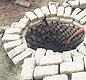 Indus Valley cities had public wells in the street. The wells were lined with bricks. Some people had private wells at home. <!-- Copyright J.M. Kenoyer/Harappa.com, Courtesy Dept. of Archaeology and Museums, Govt. of Pakistan -->