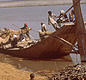 People living along the Indus River still use carts and ferry boats much like those of ancient times. Can you see the camel too?