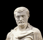 A statue of Septimius Severus. He was the first African emperor of Rome (A.D. 192-211). He died in Britain, at York.  