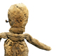 A rag doll, made in Egypt for a Roman child. It once had bits of coloured wool, probably to give it a face and 'clothes'.