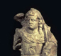This figure of a hunter-god with dogs was found in London. The figure might represent the Celtic god Maponus and the Roman god Apollo.