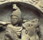 Mithras was a god from Persia, popular with Roman soldiers. He's shown here killing a bull. There was a Mithras temple in London