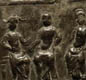 A copper alloy plaque shows three 'mother-goddesses'. Perhaps a Roman-British family hung this  inside their home. 