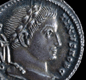 A coin of Constantine the Great. He was the emperor who made Christianity the religion of the Roman Empire.