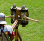 This a modern reconstruction of a 'ballista' or crossbow used by the Roman army.