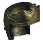 A Roman cavalry helmet, found at Ribchester (Lancashire). A fancy helmet like this was probably worn for parades or sports events.