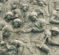 A section from Trajan's Column in Rome shows Roman soldiers. The images cut in stone look like a giant cartoon strip winding round the monument.