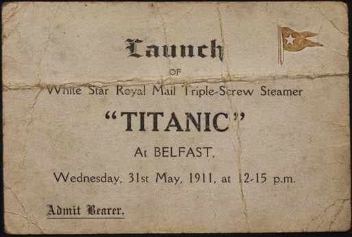 This ticket was for the launch of the Titanic at 12.15PM on Wednesday ...