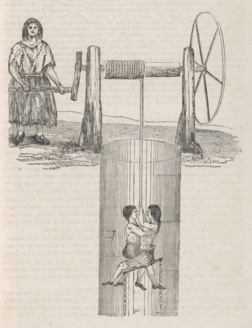 Going down a coal mine this 1842 drawing shows two children being