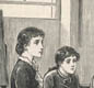 A governess teaches children at home. The lesson is interrupted by the family's maidservant.