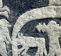 Detail of the legend of Valhalla, from the isle of Gotland (stone) - a paradise where slain warriors go.