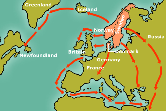 BBC Primary History Vikings Trade and exploration – Places Traveled Map