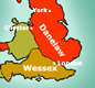 The Danelaw covered an area roughly east of a line on a map joining London and Chester.