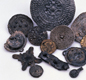 These disc-shaped brooches werefound by archaeologists at Jorvik. Viking men and women used brooches to fasten cloaks and other clothing.