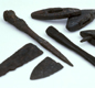 This picture shows hunting equipment, found by archaeologists at Coppergate in York. Many Vikings went hunting for extra food.
