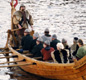 A replica Viking ship. Vikings used oars on rivers, or whenever there was not enough wind for the sail.