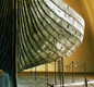 A real Viking longship. The Gokstad ship was built between AD 850 and AD 900. It was excavated by archaeologists, and is now in a museum in Oslo, Norway.