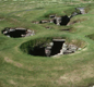 Viking buildings at Jarlshof in the Shetland Isles, north of Scotland. Jarlshof was abandoned in the AD 1200s and later buried by sand � which helped preserve the buildings.