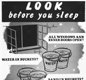Warning poster: 'Look before you sleep'.