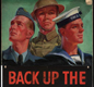 A poster urging everyone to help the Forces -  the Royal Air Force, the British Army and the Royal Navy. Poster depicting soldiers from the Air Force, Army and Navy, with the words 'Back up the fighting forces'.