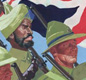 People from many nations took part in the war. This 1941 poster shows Commonwealth servicemen marching together.