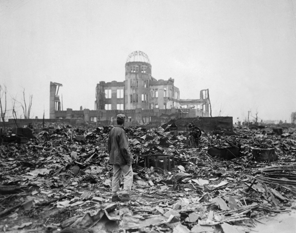 Photo showing the destruction in the japanese city of hiroshima