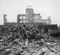 A photo showing the destruction in the Japanese city of Hiroshima after the atomic bomb was exploded.
