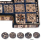 This is the Royal Game of Ur, a board game made between 2600 and 2400 BC.  The aim of the game was to race across the board by moving counters across the squares. [&copy; Trustees of the British Museum]