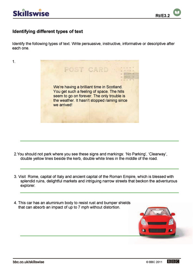 worksheet Identifying Text Structure Worksheets en03text e3 w identify the different types of text 752x1065 jpg identifying