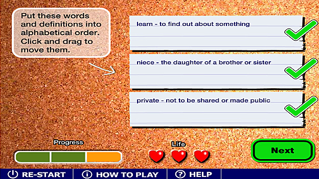 Click to play 'Dictionary design game'