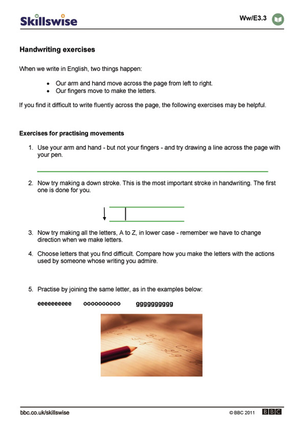 Handwriting worksheet preview